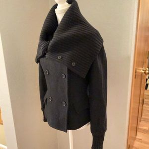 Max Mara Black Button-Up Funnel Jacket